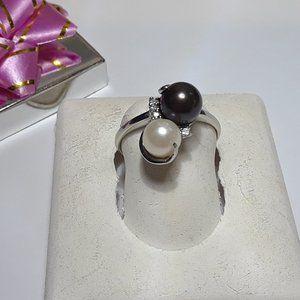 Vintage Night & Day Pearl &Diam Fancy 10Kt Rg13703
